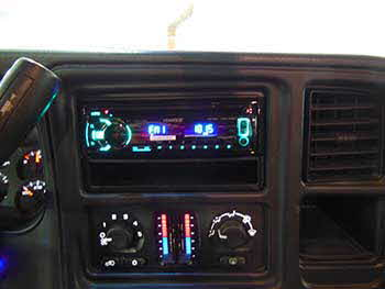 "Kenwood Excelon AM/FM CD USB Head unit with Rockford Fosgate 8"" marine speakers built into a custom pod enclosure that you can also control with a Bazooka p.a./mic system powered by a Rockford 2-channel Punch Amp."