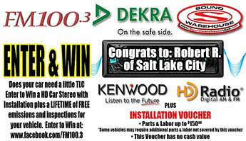 FM 100 3 Dekra Winner - Congrats to Robert R. of Salt Lake City