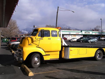 1955 CAB FORWARD CHEVY TOW TRUCK. INSTALLED A KENWOOD RECEIVER, FULL RANGE SPEAKERS AND JVC AMPLIFIED JVC ENCLOSED
