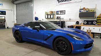 2016 Corvette came in to have his Escort radar detector mounted to the mirror and tyne wires hardwired instead of being mounted on the windshield.