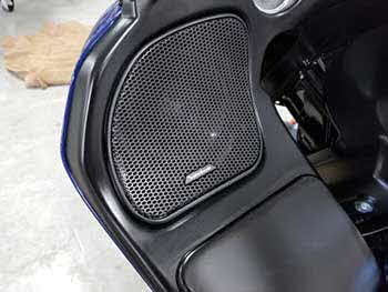 "2016 Harley Road Glide in for an audio upgrade. 2 pair Rockford Fosgate direct fit speakers in front fairing and rear tour pack. 2 Rockford amps. Used Rockford Harley specific amp kit. Installed 7.7"" speakers in the custom lids on the bags."