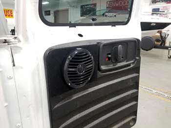 Chevy Express Van needed audio in the rear doors. Custom built panels to house a pair of Rockford speakers. Installed a pair of Hertz speakers in the front doors, a Kenwood 4-channel amp and a Kenwood in-dash receiver.