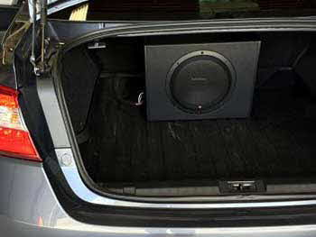 "2015 Subaru Legacy. Installed a Rockford Fosgate 10"" powered subwoofer."