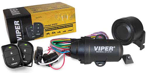 VIPER Powersports Security System was specifically designed and engineered for motorcycles, ATVs, boats, PWCs, and snowmobiles. Compact and waterproof, the Viper Powersports Security System features two small and easy-to-carry, 2-button waterproof remotes.