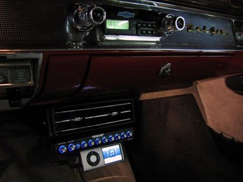 1957 CHEVY - INSTALLED CLARION SUB WOOFERS, AMPLIFIERS AND EQUALIZER, KENWOOD SPEAKERS, CUSTOM BASS ENCLOSURE,  ENGINE COMPARTMENT TRUCK ILLUMINATION AND ELECTRIC WINDOWS.