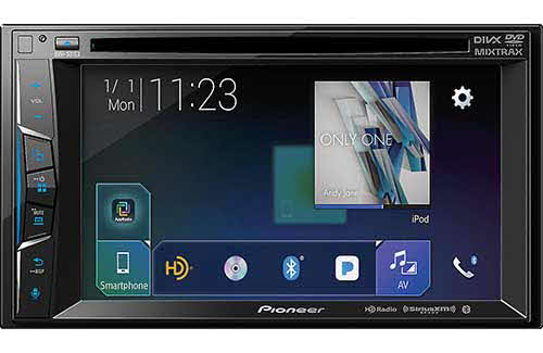 "PIONEER Multimedia DVD Receiver with 6.2"" WVGA Display, Built-in Bluetooth�, HD Radio� Tuner, SiriusXM-Ready� and AppRadio Mode +, Remote Control Included and two camera inputs"