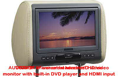 "AUDIOVOX 9"" universal headrest HD video monitor with built-in DVD player and HDMI input"
