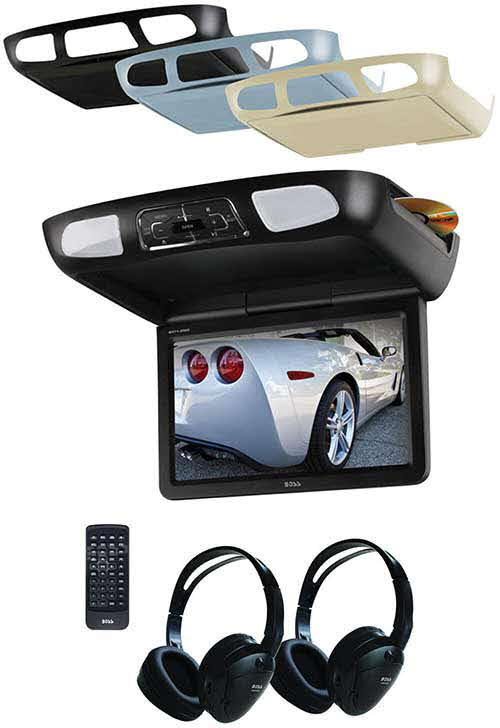"BOSS Audio Systems 11.2"" Flip-Down Monitor with Built-In DVD Player, Interchangeable Housings and Headphones"