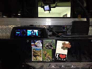 "Bonneville Hot Shots Fire Truck. Installed a JVC Multimedia Receiver with Bluetooth and a 24"" Samsung LED TV."