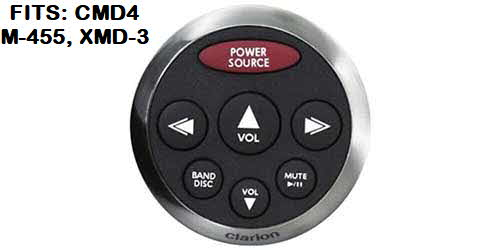 CLARION Watertight Silver Face with Black Rubber Bezel Marine Remote Control