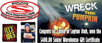 Drop The Pumpkin Sound Warehouse Gift Certificate Winner: Colton of Layton Utah!