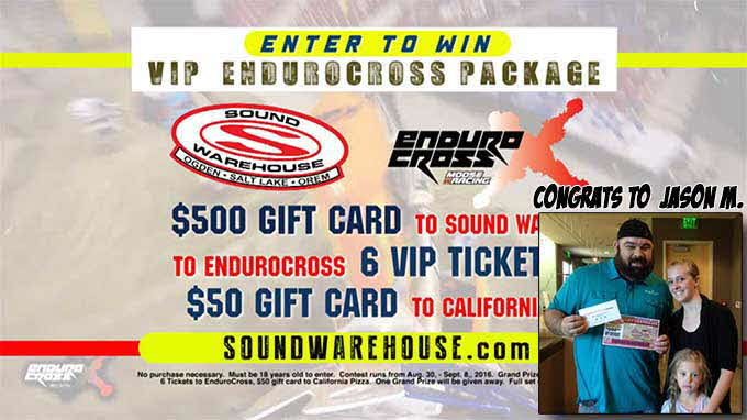 Congrats to EnduroCross winner Jason M. winner of a $500 Sound Warehouse Gift Card!