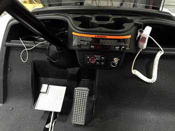 "Golf Cart. Installed 2 sets of Kenwood 6.5"" marine 2-way speakers, a Kenwood Bluetooth 4-channel power amp wired controller and a Bazooka PA system."