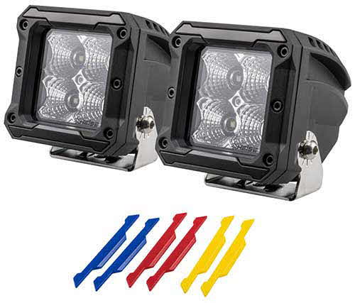 HEISE Flood Beam Cube Light - 3 Inches 4 LED - 2 Pack with Harness