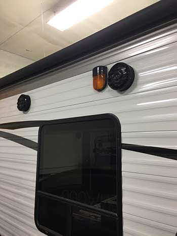 "Jayco Travel Trailer: Installed a 7"" Kenwood double din receiver, 2 pr. Kenwood marine speakers, TV & mount, Toggle switches & USB game plate"