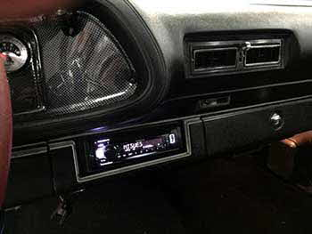 1973 Camaro Z28. Installed a Kenwood Receiver - Kenwood 6x9 speakers on rear deck and 4x6 speakers in custom built kick panels with punched aluminum grills.