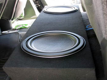 "2008 GMC Sierra Duramax - Kenwood Multimedia with Navigation, Kenwood 10"" Shallow Mount Subwoofers, Custom under the seat Bass Box, Rockford Fosgate Power Amplifiers."