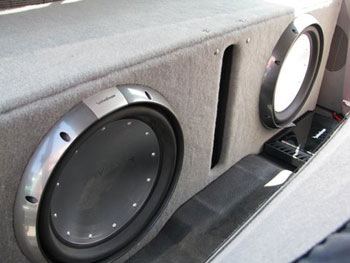 "FORD F150 TRUCK - INSTALLED ROCKFORD FOSGATE POWER SERIES 1500 WATT AMP AND 2 ROCKFORD FOSGATE POWER SERIES 15"" SUB WOOFERS"