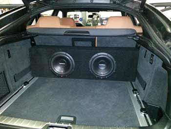 BMW X6. Installed Helix 2-way coax spkrs front & rear. Clarion Tweeters. 5-Channel Rockford Fosgate Prime amp & 2ea. Rockford Fosgate subs in a custom built enclosure.