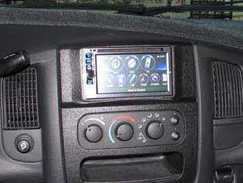 "2002 Dodge Ram. Installed a Kenwood Excelon Double Din AM/FM/CD 6.1"" Monitor Navigation System with Bluetooth, HD & Pandora with a Custom Dash Bezel. Salt Lake Store."