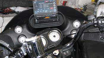 "Harley Davidson - Installed in the cowling Kenwood 6.95"" Big Screen Flip Out AM/FM/CD/DVD w/Added on Nav, Bluetooth & Sirius. Rockford Fosgate small sized amp and 2 pair Kenwood Excelon 5.25"" Speakers."