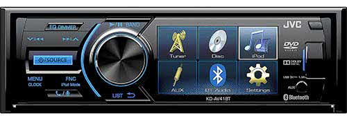 "JVC DVD Receiver featuring 3"" QVGA Display / Bluetooth / Rear View Camera Input / Front USB / iPod, iPhone Music Control"