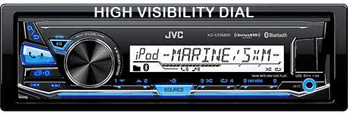 JVC Single DIN Marine Grade Bluetooth In-Dash Mechless Car Stereo with FLAC playback and SiriusXM Ready