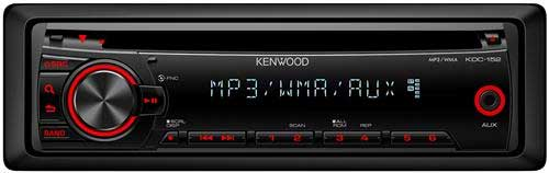 KENWOOD In-Dash Car CD/MP3/WMA Stereo Receiver w/ Front 3.5mm Auxiliary Input & Red Illuminated Button�s