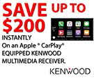 Save Up To $200 Instantly on an Apple Car Paly Equipped Kenwood Multimedia Receiver!