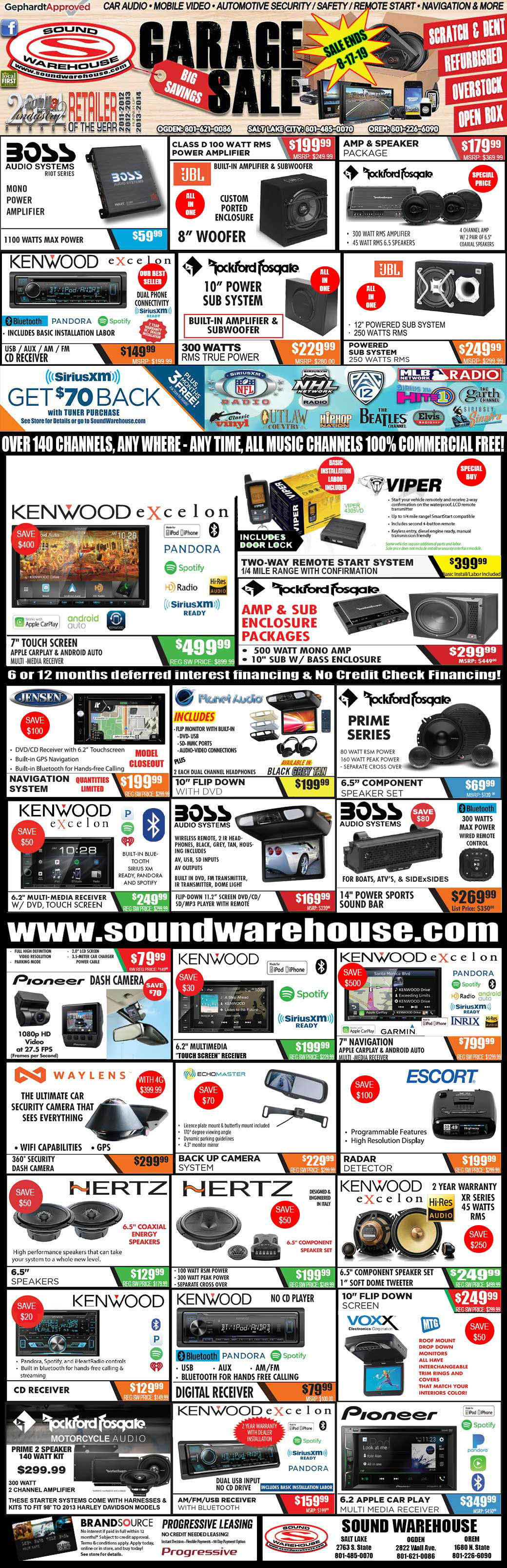 Deals & Closeouts - Sound Warehouse Utah