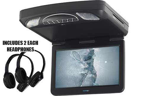 "VOXX Electronics 13.3"" hi-res LED overhead video monitor with built-in DVD player and HDMI inputs"