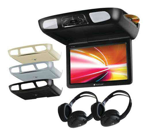 "Planet Audio 11.2"" All-In-One Flip Down Multimedia player w/Built-in IR & FM Modulator w/Black Grey & Tan Monitor Housing Options & 2 Dual Channel Headphones"