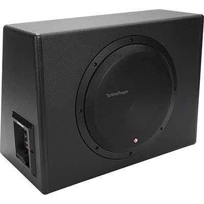 "ROCKFORD FOSGATE Single 12"" subwoofer enclosure with 300-watt amp"
