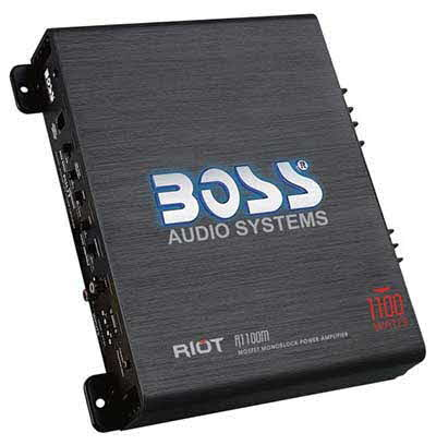 "BOSS AUDIO Riot 1100W Monoblock, Class A/B Amplifier Dimensions 9.13""L 10.44""W 2.25""H"