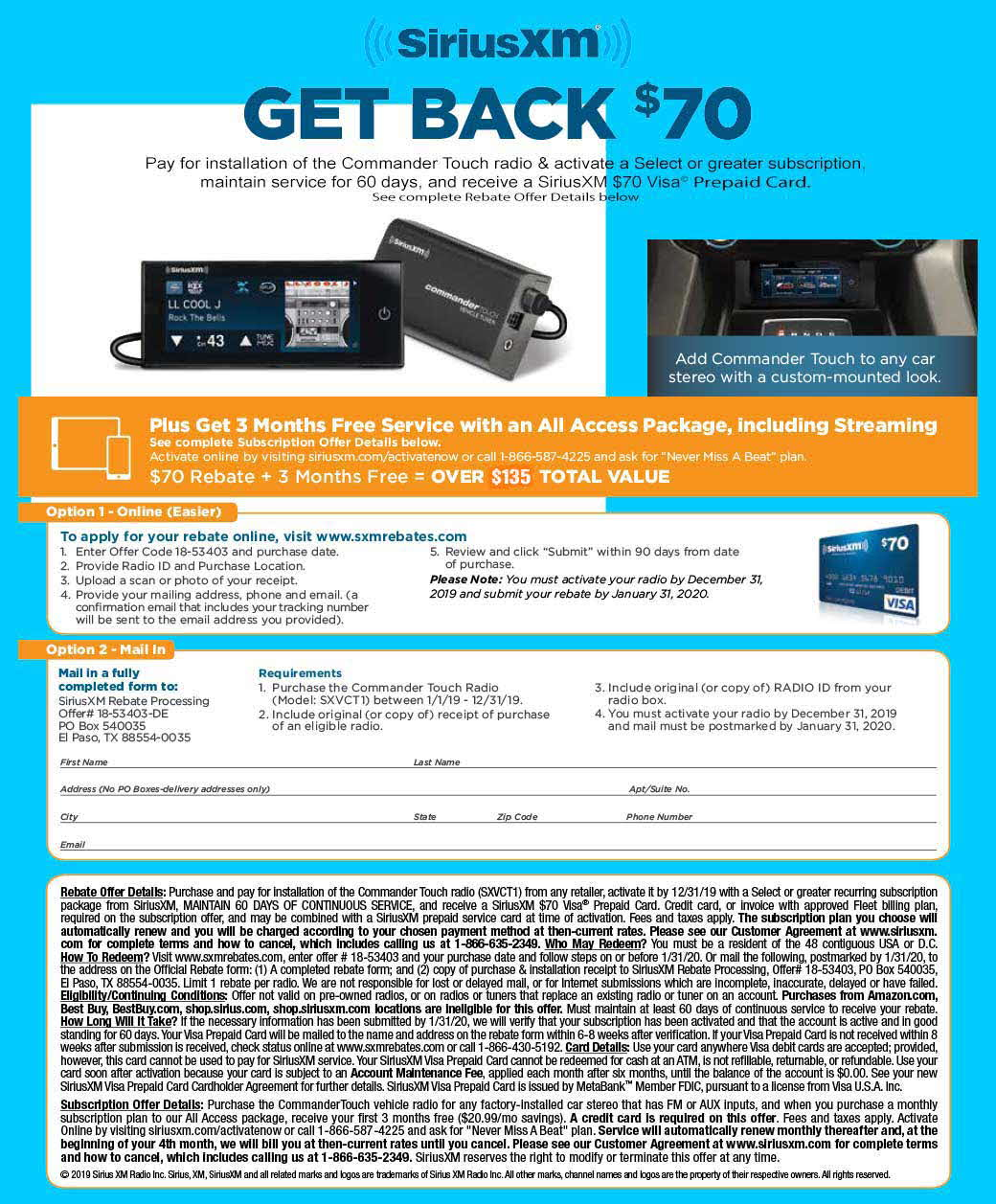 Sirius XM - get back $70 offer