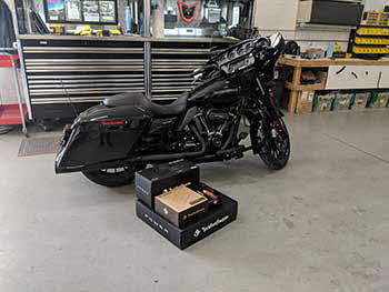 2018 Harley Street Glide. We did a full upgrade using all Rockford Fosgate Harley specific equipment - front speakers with a 4 channel amp using Harley mounting/wiring kit. We installed the rear bag lid Harley kit and speakers and finally we flashed the OEM unit to fix the EQ curve
