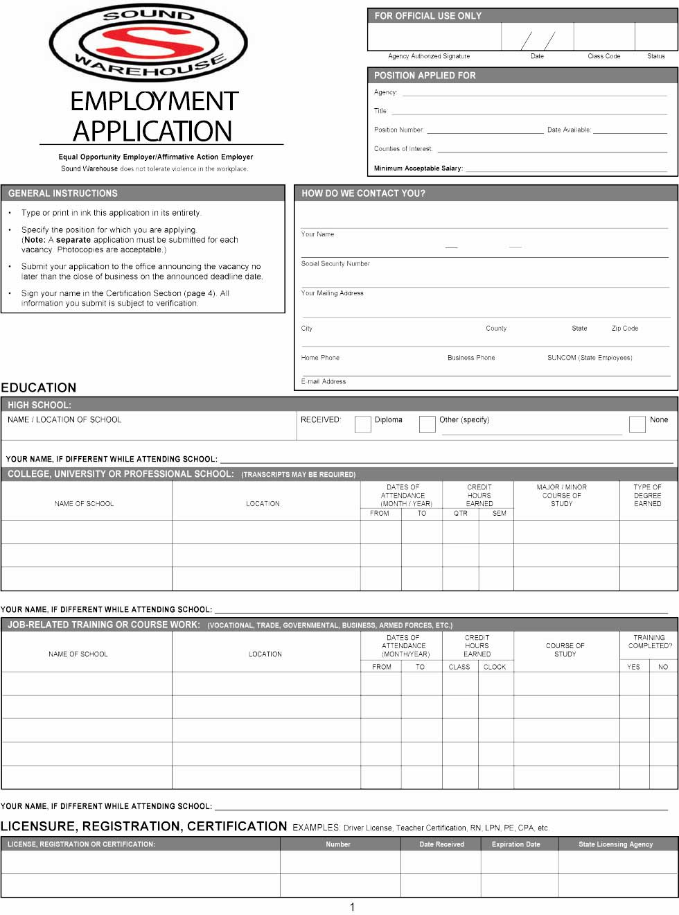 Sound Warehouse Employment Application