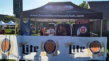 Sound Warehouse at Utah Tailgate event with 1280 the Zone, Miller Lite and Rockford.