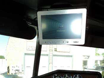 "'96 Freightliner. Installed Kenwood Bluetooth HD receiver with flush mounted USB port and 10"" touch screen to control laptop in work station sleeper. Clarion 4-channel amp with Planet Audio 10"" sub woofers in ported box under sleeper."