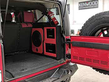 2018 Jeep Wrangler JK make over using Kenwood, Rockford Fosgate, Viper, Escort and MESA equipment. Custom fabricated enclosures for amps and subwoofers.