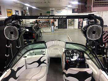 MB Sports Boat. Installed a Kenwood marine receiver. Rockford Fosgate amps and speakers with Rockford tower speakers.