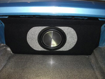 MUSTANG MACH 1 - Installed Clarion sub woofers in a custom built bass enclosure.