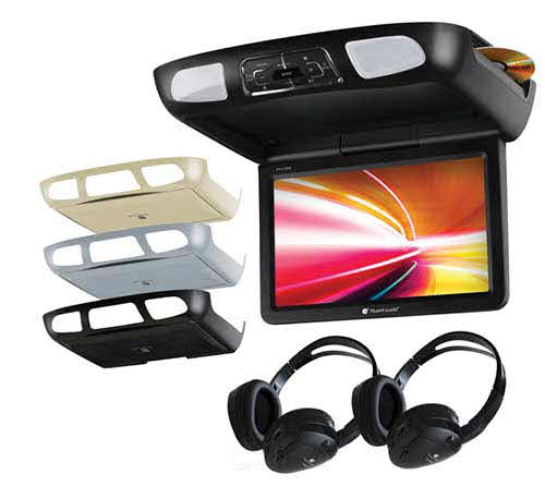 "Planet Audio 10.1"" All-In-One Flip Down Multimedia player w/Built-in IR & FM Modulator w/Black Grey & Tan Monitor Housing Options & 2 Dual Channel Headphones"
