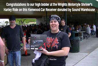 Congratulations to our high bidder at the Wrights Motorcyle Shriner's Harley Ride on this Kenwood Car Receiver donated by Sound Warehouse!